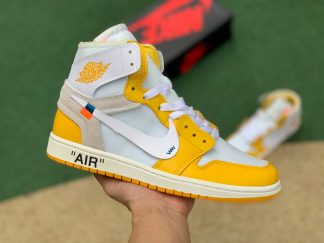 Off-White x Air Jordan 1 Canary Yellow Sneakers For Sale AQ0818-149
