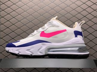 Ladies Nike Air Max 270 React White/Navy Blue/Pink Outlet For Sale CU7833-101