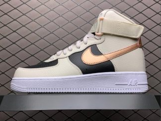 Nike Air Force 1 High Beige Black Copper Swooshes Outlet Sale DB5080-100