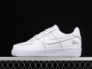 2021 Best Deal BQ6246-019 Nike Air Force 1 Low Stussy White Silver Reflective