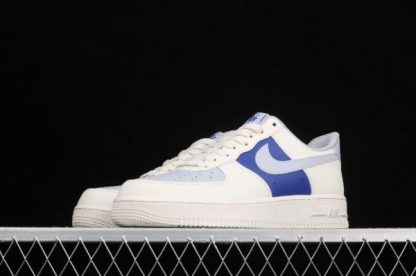 2021 New Arrival AQ3778-988 Nike Air Force 1 07 Milk White Wolf Grey Royal Blue Shoes-4