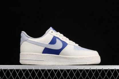 2021 New Arrival AQ3778-988 Nike Air Force 1 07 Milk White Wolf Grey Royal Blue Shoes-1