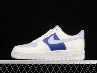 2021 New Arrival AQ3778-988 Nike Air Force 1 07 Milk White Wolf Grey Royal Blue Shoes