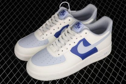 2021 New Arrival AQ3778-988 Nike Air Force 1 07 Milk White Wolf Grey Royal Blue Shoes-2