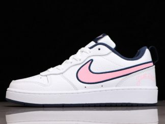 2021 Discount DB3090-100 Nike Court Borough Low 2 SE GS White/Midnight Navy/Pink Cheap Sale Online