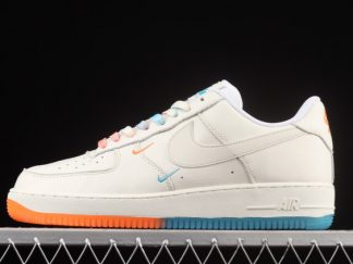 2021 New Arrival CT1989-103 Nike Air Force 1 07 Low SU19 Rice White Orange Blue For Sale