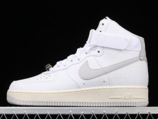 2021 New Arrival CU1414-100 Nike Air Force 1 High 07 Premium Toll Free White/Vast Grey/Sail Black For Sale