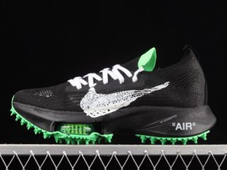 2021 New Arrival CV0697-001 Off-White x Nike Air Zoom Tempo Next% Black White Green For Sale